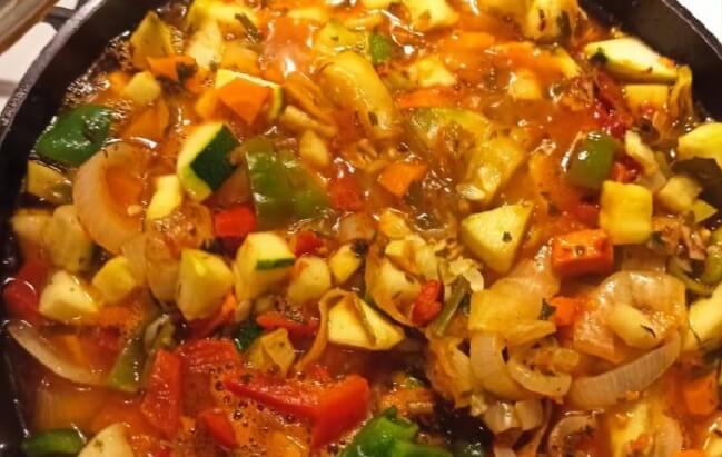 Рецепт рагу из болгарского перца и цукини