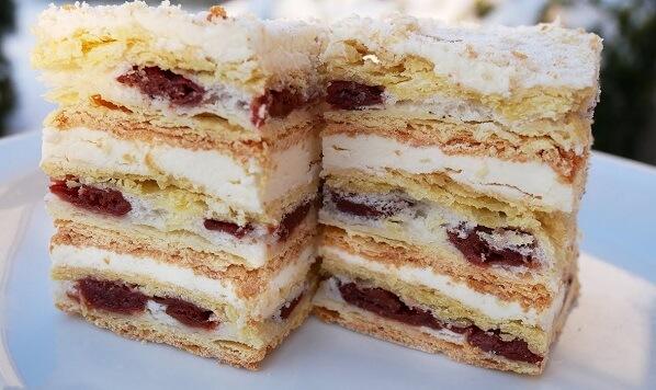 Рецепт торта Наполеон с вишней