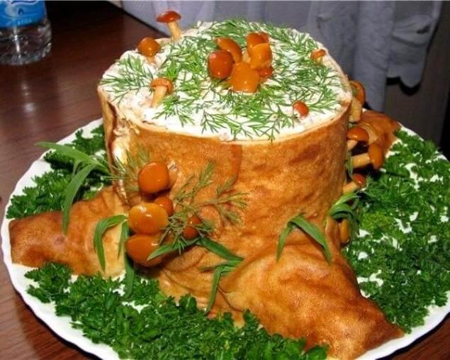 Салат «Пенёк» с грибами