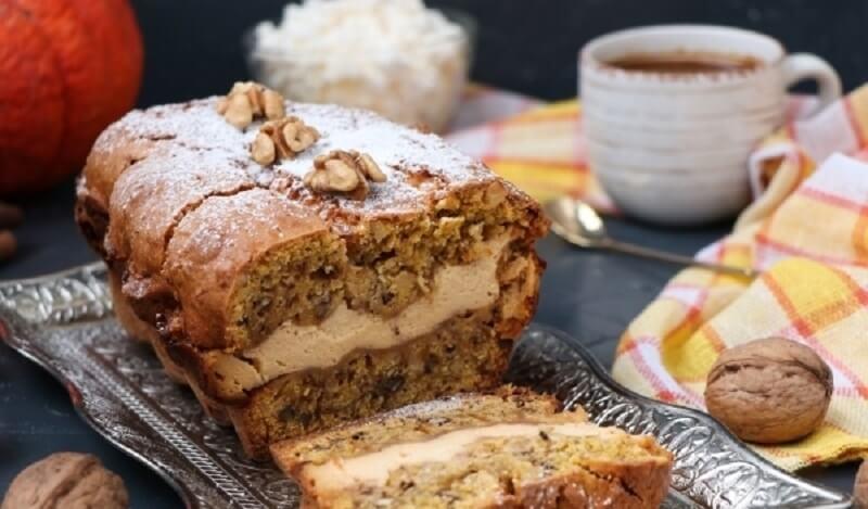 Тыквенный кекс с творогом и грецкими орехами