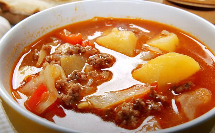 Вкусный, густой суп с фаршем