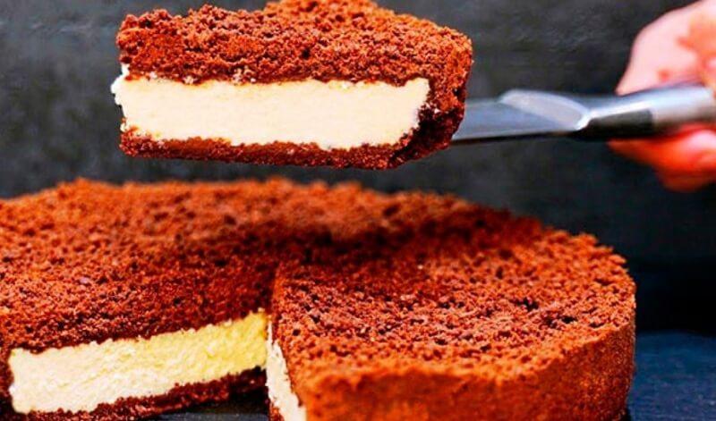 Роскошный шоколадный пирог с творогом