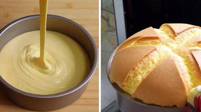 Высокий бисквит без соды и разрыхлителя