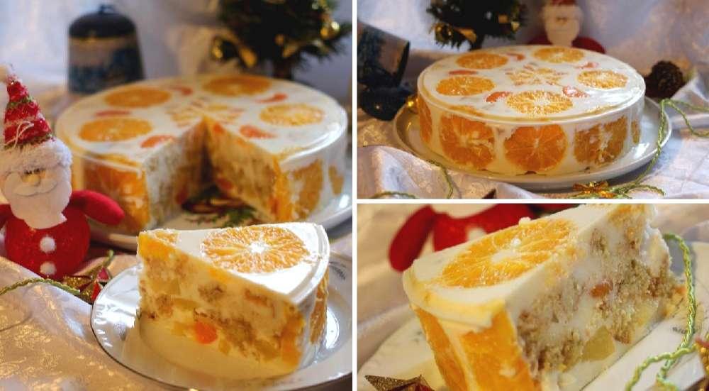 Рецепт желейного торта «Новогодний» с фруктами