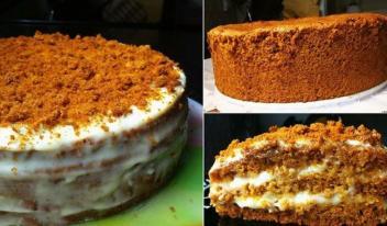 Бисквитный торт «Медовый». Нежный, вкусный и приготовить легко!