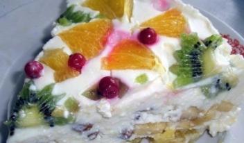 Домашний творожный торт без выпечки со свежими фруктами