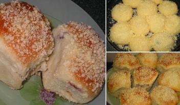 Изумительные пышные булочки с фруктовой начинкой и нежной посыпкой