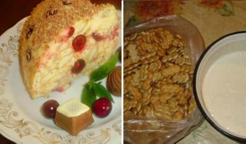 Изумительный сметанный торт с вишней без выпечки