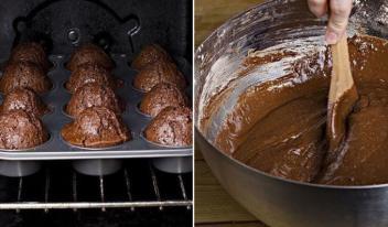 Как приготовить быстрые пышные шоколадные кексы