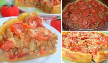 Как приготовить деревенский пирог из картофельного теста с овощами и мясом