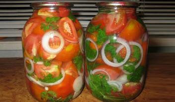 Маринованные помидоры с луком на зиму по-домашнему. Обалденно вкусный рецепт!