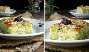 Необычный пышный пирог на сметане из молодой капусты