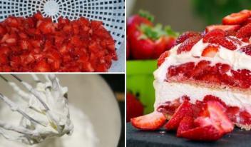 Необыкновенный торт с клубникой без выпечки