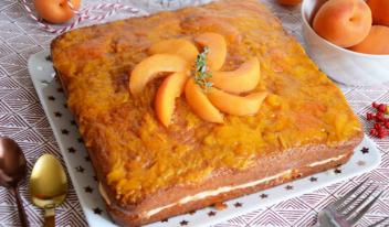 Очень нежный абрикосовый пирог с кремом
