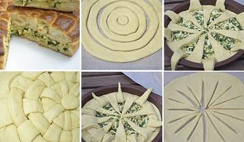 Оригинальный дрожжевой пирог с яйцом и зеленым луком