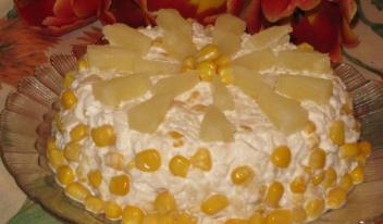 Оригинальный и очень красивый и сочный салат «Солнечный»