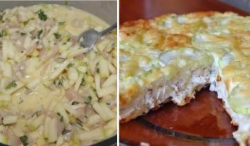 Оригинальный пирог с курицей, сыром и овощами в духовке