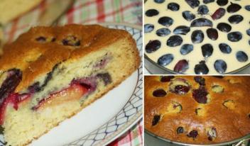 Пирог со сливами из творожного теста: пошаговый рецепт