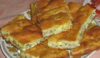 Пышный заливной пирог с капустой на обычном кефире