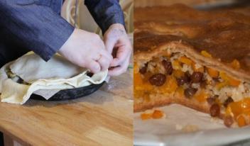 Рецепт приготовления необычного закрытого пирога с рисом и изюмом