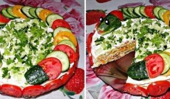 Сытный кабачковый торт с грибами и зеленью