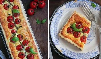 Сытный пирог с помидорами черри, сыром, базиликом и тимьяном