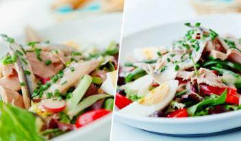 Традиционный салат «Нисуаз» с анчоусами и тунцом