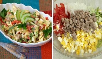 Вкусный мясной салат «Бахор»: пошаговый рецепт