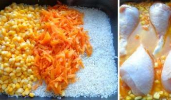 Восхитительные куриные ножки в духовке с рисом и кукурузой