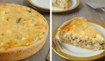 Восхитительный пирог - сметанник с начинкой из курицы и грибов