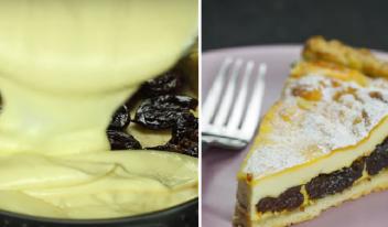 Восхитительный творожный пирог с черносливом