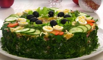 Новогодний салат «Сытый барин» пошаговый рецепт