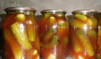 Огурцы с кетчупом чили на зиму в литровых банках без стерилизации