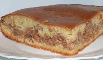 Пирог с мясом «Легче не бывает» на кефире