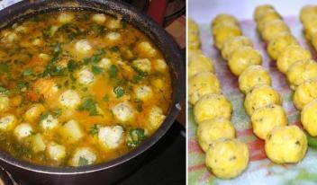 Рецепт необычного куриного супа с сырными шариками