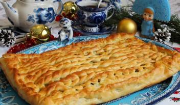 «Вязаный» пирог с рыбой